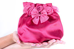 A girl holding a pretty pink handbag. Magenta pink handbag or a gift bag with a bow in hand of a young women with long fingernails Royalty Free Stock Photos