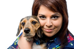 Girl Holding a Pup Stock Photo