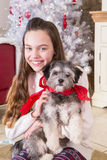 Girl holding Puppy at Christmas Royalty Free Stock Image