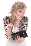 А girl holding purse with cash Stock Image