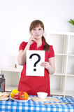 Girl holding question sign Stock Image
