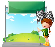 A girl holding a racing flag. Illustration of a girl holding a racing flag on a white background Stock Images
