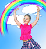 Girl holding a rainbow abstract background stock images
