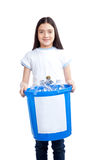 Girl Holding Recycling Waste Bib Royalty Free Stock Images