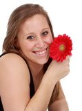 Girl holding a red flower Stock Photo