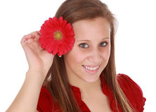 Girl holding a red flower Stock Photos