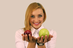 Girl Holding Red And Green Apples Royalty Free Stock Images