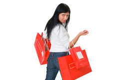 Girl holding red packet in her hands Stock Images