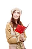 Girl holding red postcard Stock Photos