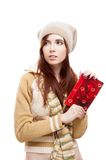Girl holding red postcard Royalty Free Stock Photo