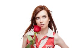 Girl holding red rose Stock Photo