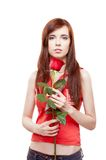 Girl holding red rose Royalty Free Stock Photo