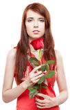 Girl holding red rose Stock Photos