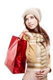 Girl holding red shopping bag Stock Photography