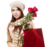 Girl holding red shopping bag Stock Image