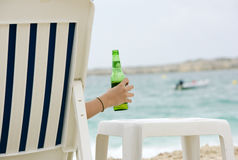 Cold Beer On Beach Stock Photo