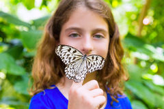 Girl holding Rice Paper butterfly Idea leuconoe Stock Image