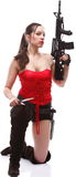 Girl holding Rifle islated on white background Royalty Free Stock Image