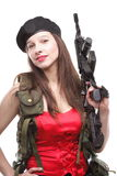 Girl holding Rifle islated on white background Stock Image