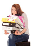 Girl holding ring binders Stock Photography