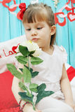 Girl holding a rose Stock Image