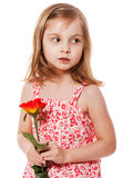 Girl Holding Rose Stock Photography