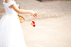 Girl holding rose petals Royalty Free Stock Images
