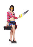 Girl holding saw Royalty Free Stock Images