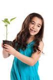 Girl holding seedling Royalty Free Stock Photos