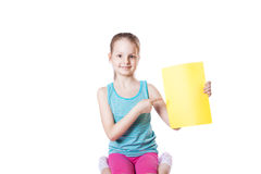 Girl holding a sheet of paper Stock Photography