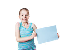 Girl holding a sheet of paper Royalty Free Stock Photography