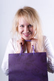 Girl holding shoping bag Royalty Free Stock Photos