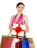 Girl holding shopping bag. Royalty Free Stock Photo