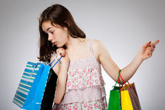 Girl holding shopping bag Royalty Free Stock Images
