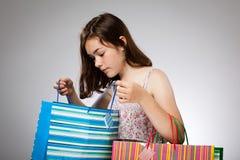 Girl holding shopping bag Stock Image