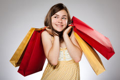 Girl holding shopping bag Stock Photo