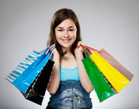 Girl holding shopping bag Royalty Free Stock Photos