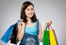 Girl holding shopping bag Stock Photography