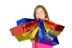 Girl holding shopping bags Royalty Free Stock Photography