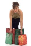 Girl, holding the shopping bags Royalty Free Stock Images
