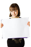 Girl holding sign 2 Royalty Free Stock Image