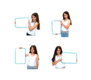 Girl Holding Sign stock photography