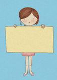 Girl Holding Sign. An artwork of a girl holding a blank banner Royalty Free Stock Image