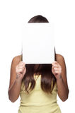 Girl holding sign Stock Images