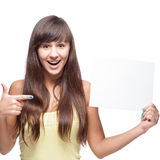Girl holding sign Royalty Free Stock Images