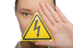 Girl holding a sign lightning Stock Photos