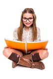 Girl holding a sketchbook Royalty Free Stock Image