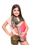Girl holding sketchbooks Stock Image
