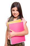 Girl holding sketchbooks Stock Photos