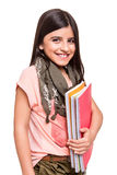 Girl holding sketchbooks Royalty Free Stock Photography